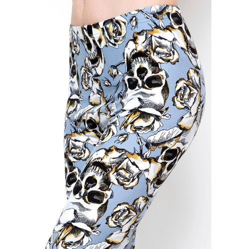 Skull Print Brushed Leggings