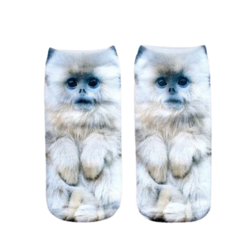 White Monkey Print Ankle Socks
