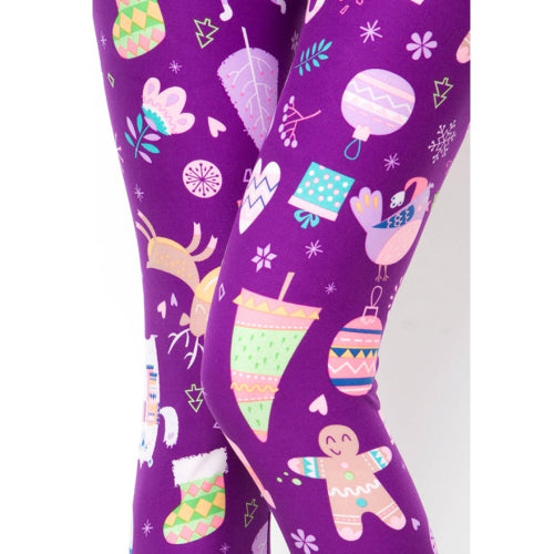 Purple Printed Christmas Leggings