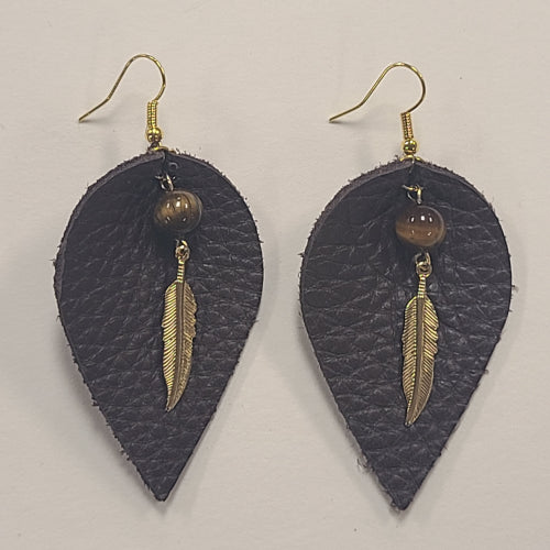 Leaf Feather Leather Earrings