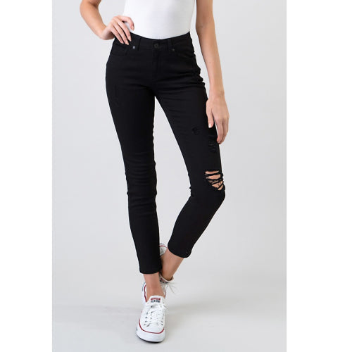 Petite Solid Distressed Jeans