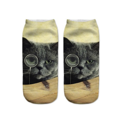 Monocle Cat Print Ankle Socks