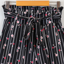 Load image into Gallery viewer, Black Floral Paper Bag Shorts