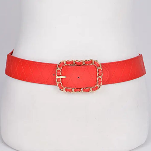 Red Chained Buckle Belt