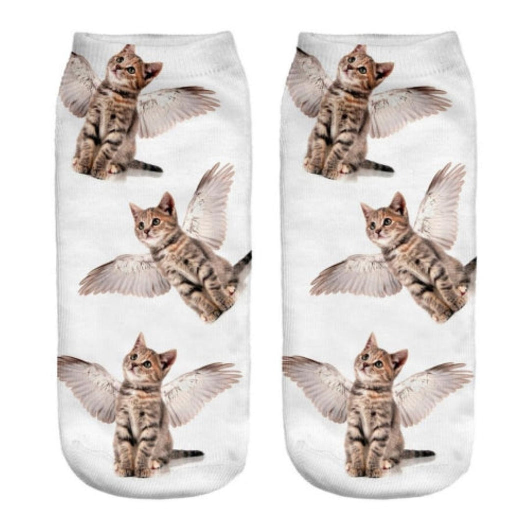 Angel Cat Ankle Socks