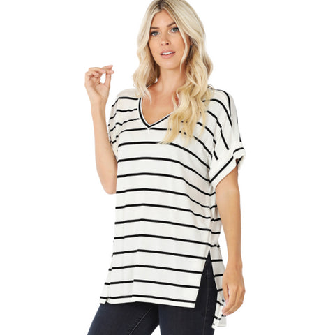 Power Play Striped Blouse