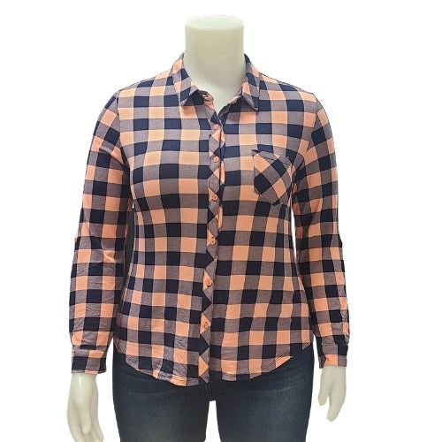 Plus Cupro Buffalo Plaid Blouse