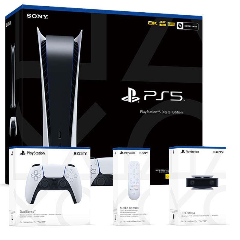 PlayStation 5 Console Digital Edition with DualSense Controller, HD Camera & Media Remote