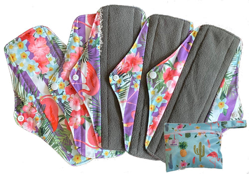 5PK Ethel Mae Bamboo Charcoal Menstrual Pads + Wet Bag