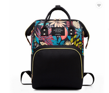 Load image into Gallery viewer, Floral Multi-Functional Diaper Bag Backpack