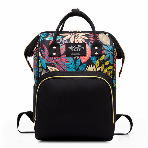 Floral Multi-Functional Diaper Bag Backpack