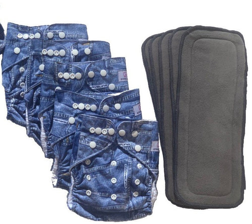 Ethel Mae Waterproof Reusable Size Adjustable Cloth Pocket Diaper