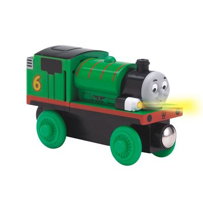 Locomotiva din lemn Percy cu lumina si sunete Thomas & Friends™ Wooden Railway Early Engineers™ Learning Curve LC99042