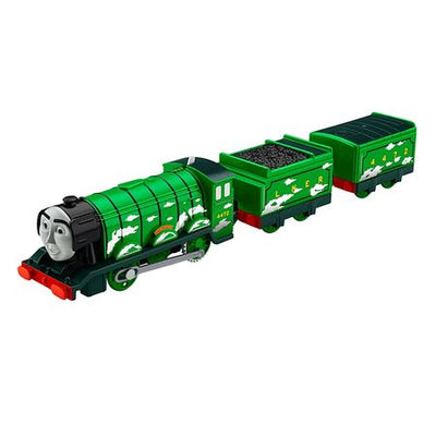Trenulet Locomotiva motorizata Flying Scotsman cu 2 vagoane Thomas & Friends TrackMaster™ DFM88 BMK93