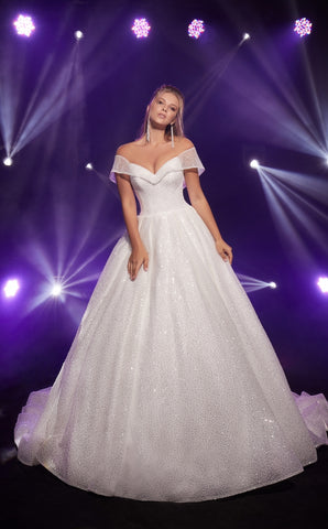 TEREZA SPARKLING IVORY SEQUINS BALL GOWN WEDDING DRESS
