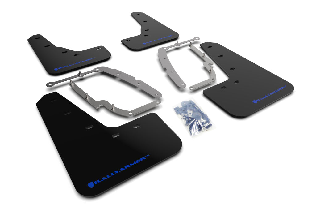Tesla Model 3 Black UR Mud Flaps, Blue Text