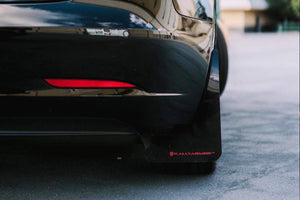 Tesla Model 3 with Rally Armor Mudflaps, rear shot