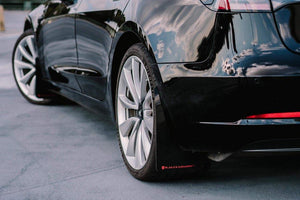 Tesla Model 3 with Rally Armor Mudflaps rear shot
