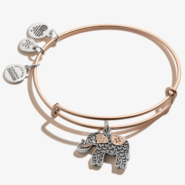 Elephant Charm Bangle, Two-Tone