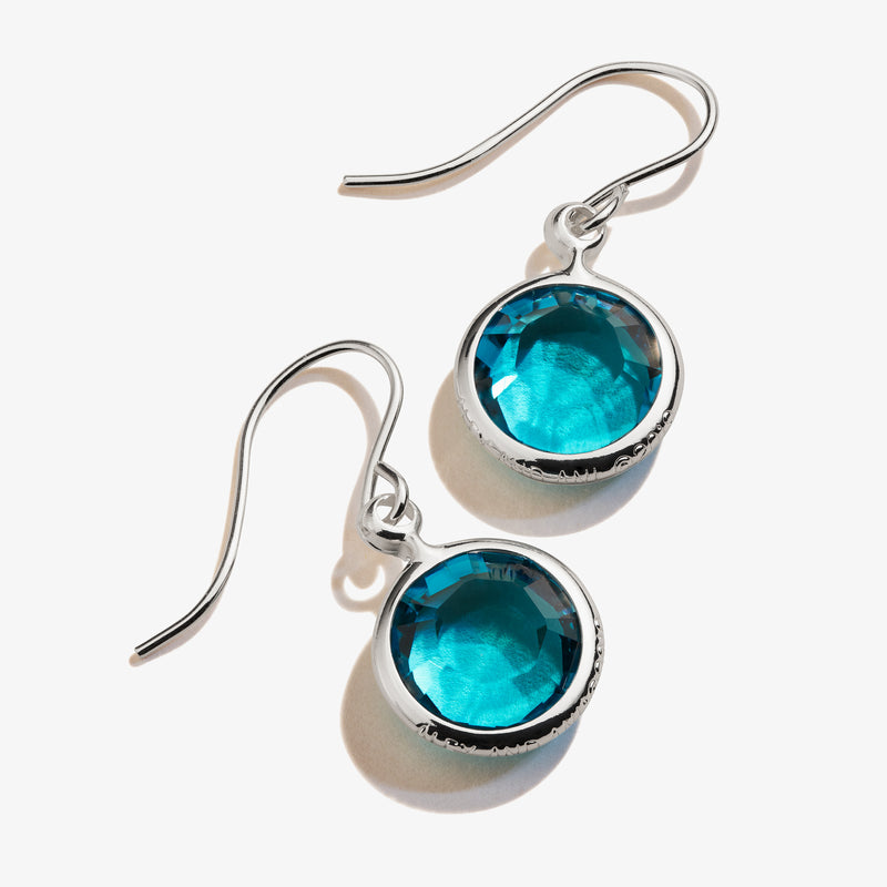 Blue Zircon Birthstone Earrings, December