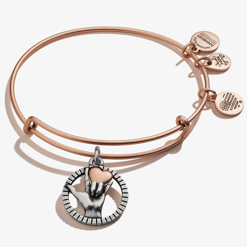 Love Sign Language Charm Bangle, Rafaelian Rose Gold, Alex and Ani