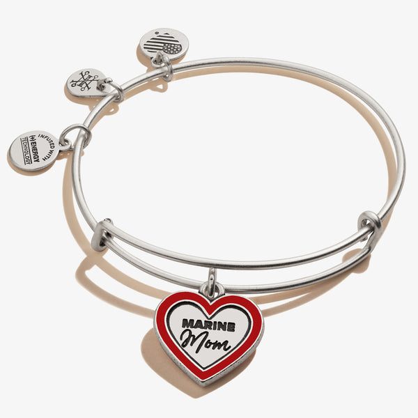 U.S. Marine Mom Charm Bangle, Rafaelian Silver, Alex and Ani