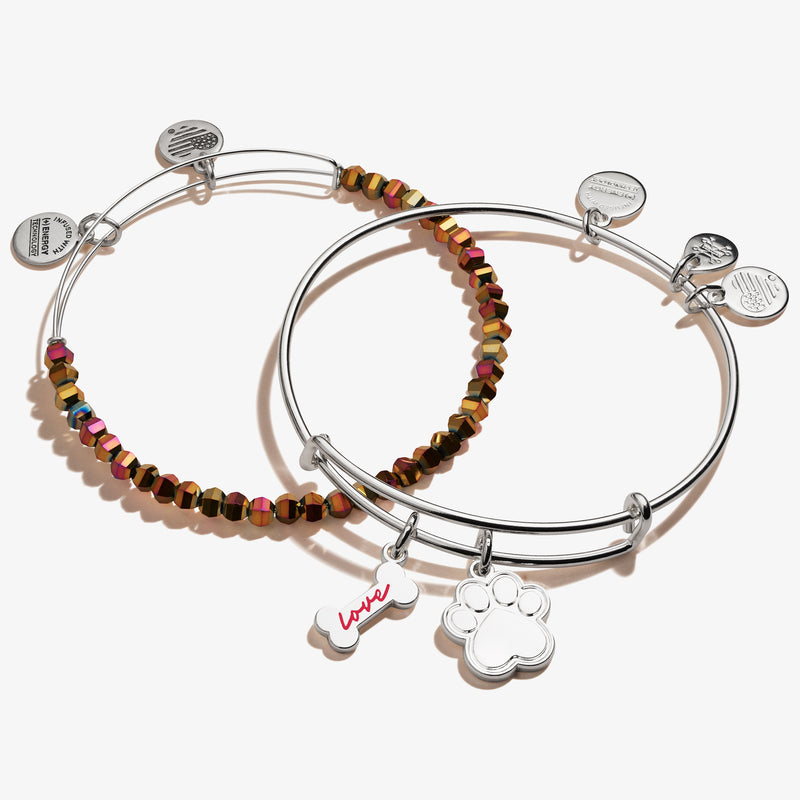 Dog Bone + Paw Print Duo Charm Bangle