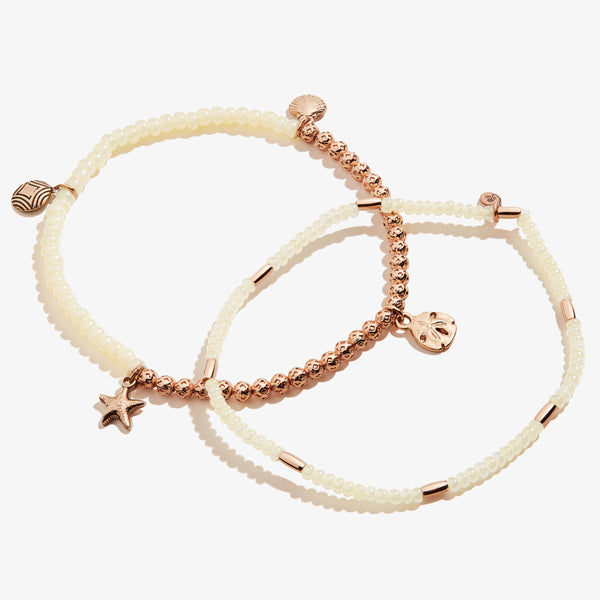Sand Dollar Stretch Anklets, Set of 2
