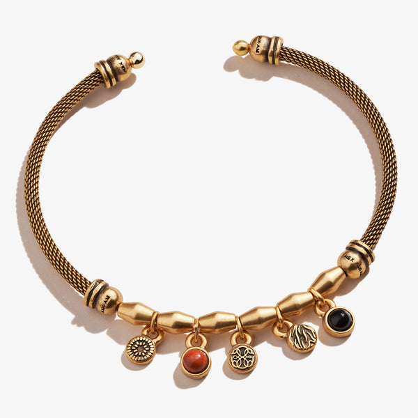 Path of Life® + Gemstone Multi-Charm Mesh Cuff Bracelet