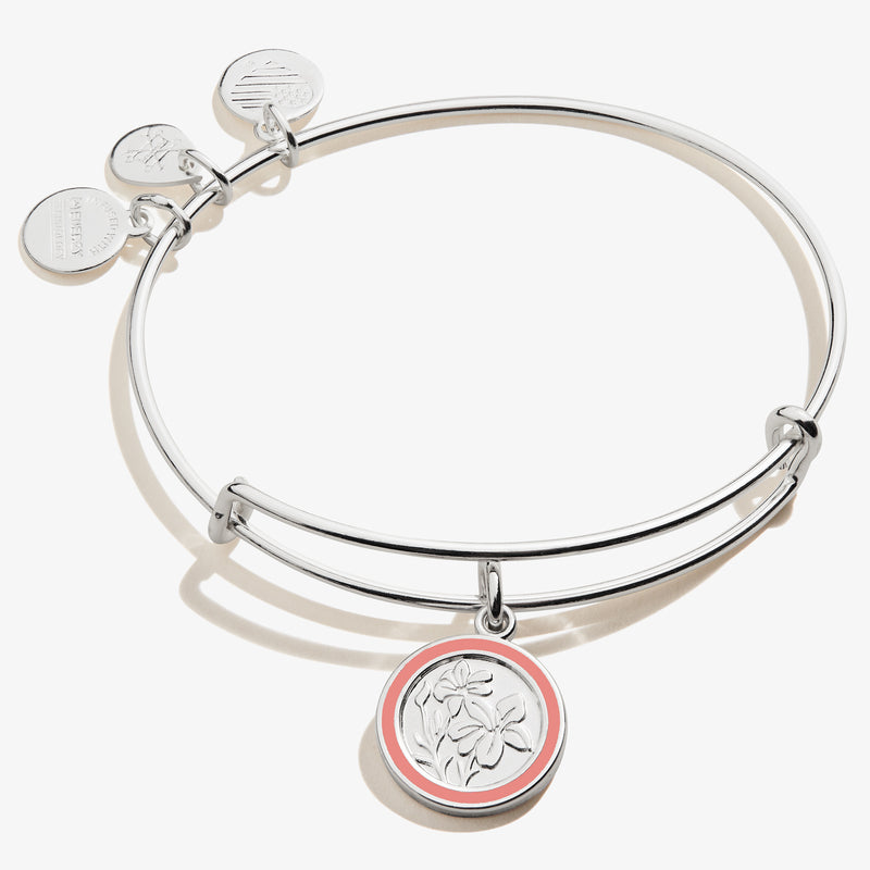 August Gladiolus Flower Charm Bangle