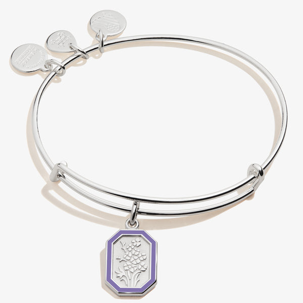 July Larkspur Flower Charm Bangle