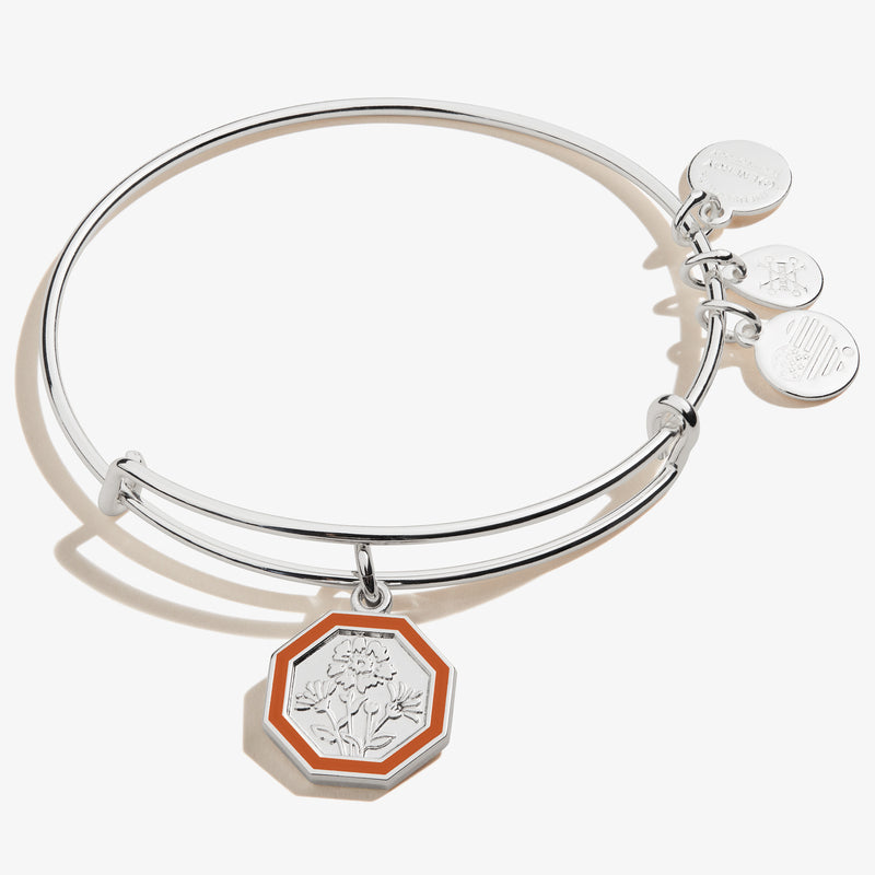 October Marigold Flower Charm Bangle