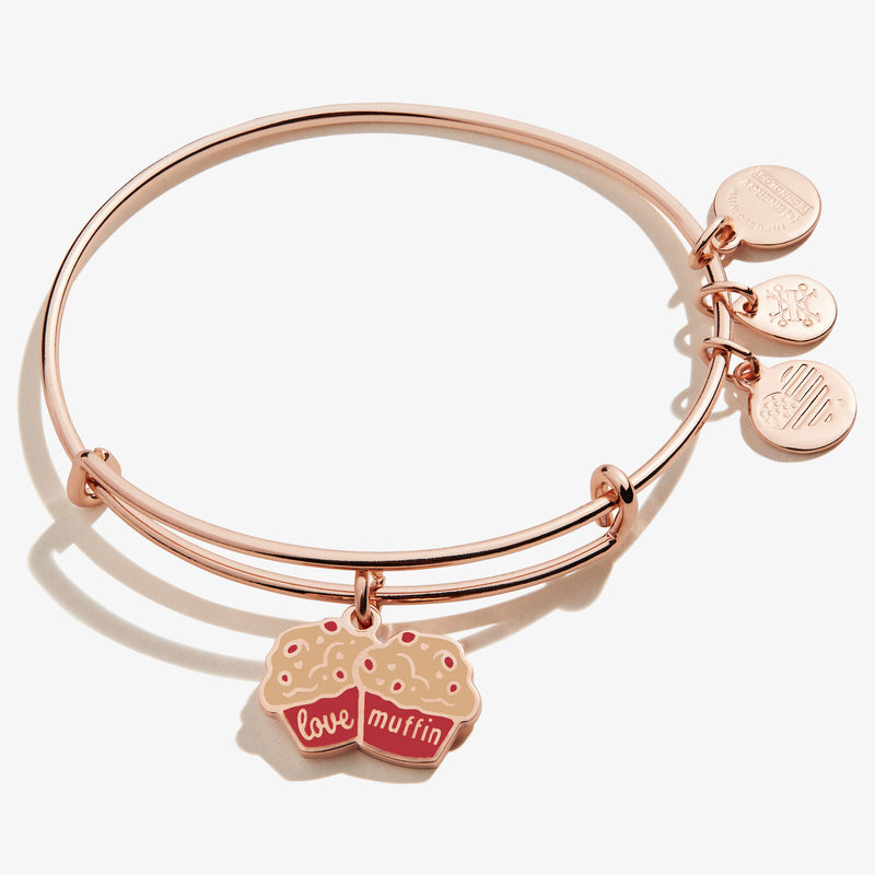 'Love Muffin' Charm Bangle, Shiny Rose Gold, Alex and Ani