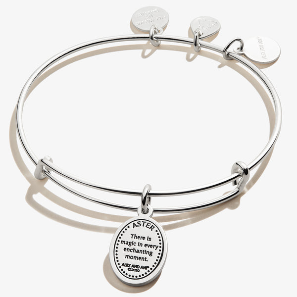 September Aster Flower Charm Bangle