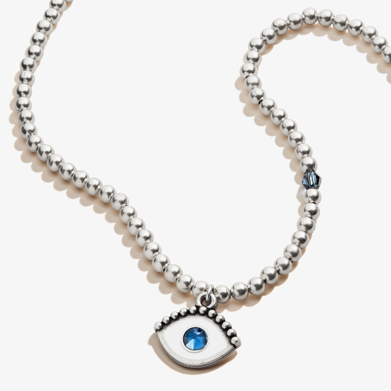 Evil Eye Crystal Charm Beaded Necklace, Rafaelian Silver, Alex and Ani