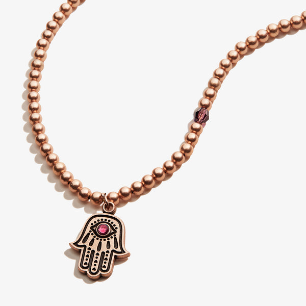 Hamsa Crystal Charm Beaded Necklace