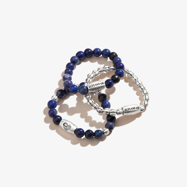 Sodalite Gemstone Stretch Rings, Set of 3
