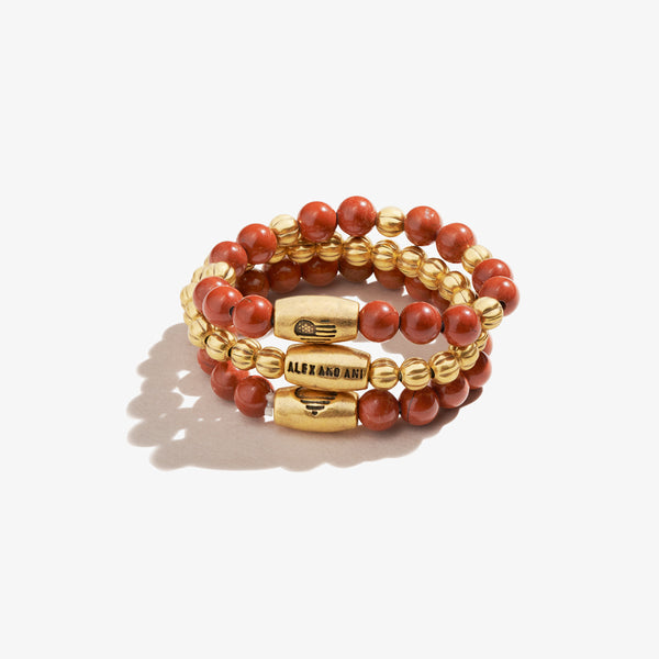 Red Jasper Gemstone Stretch Rings, Set of 3
