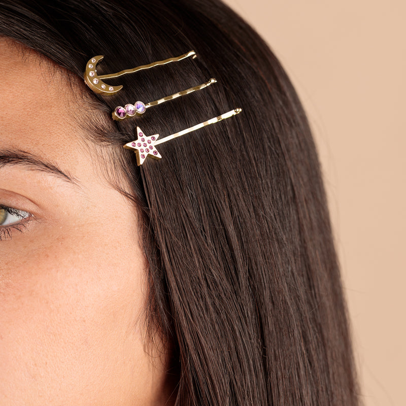 Amethyst Moon + Star Hair Pins, Set of 3