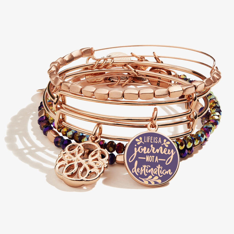 'Life is a Journey' + New Beginnings Charm Bangles, Set of 5