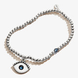Evil Eye Crystal Charm Beaded Stretch Bracelet