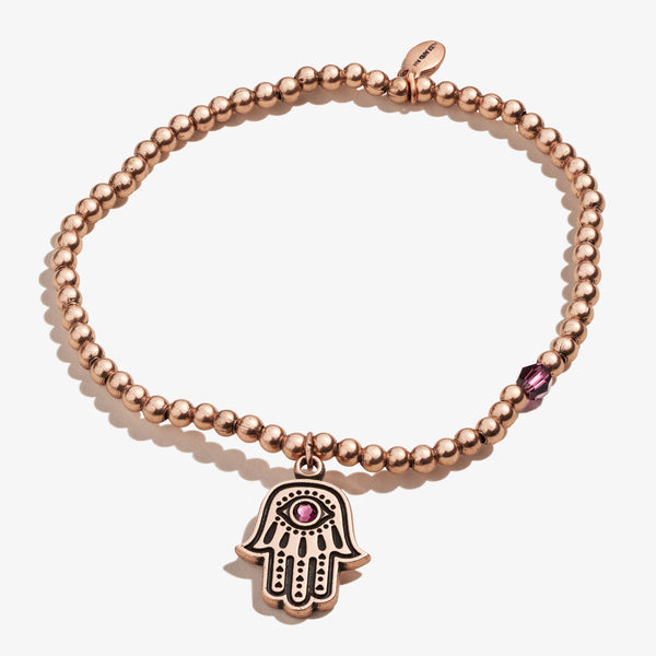 Hamsa Crystal Charm Beaded Stretch Bracelet