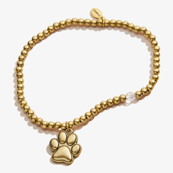 Paw Prints of Love Crystal Charm Stretch Bracelet