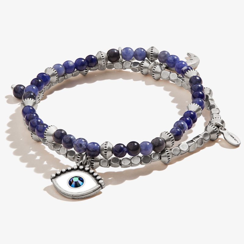 Evil Eye Charm Beaded Stretch Bracelets, Set of 2