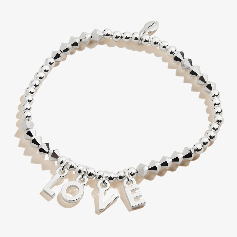 'Love' Beaded Stretch Bracelet, Shiny Silver, Alex and Ani