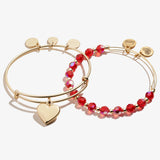 Heart Charm Bangle, Set of 2