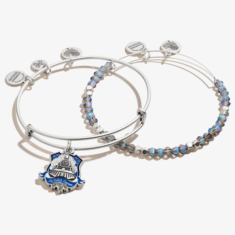 The Polar Express™ Train Charm Bangle + Beaded Bangle, Set of 2