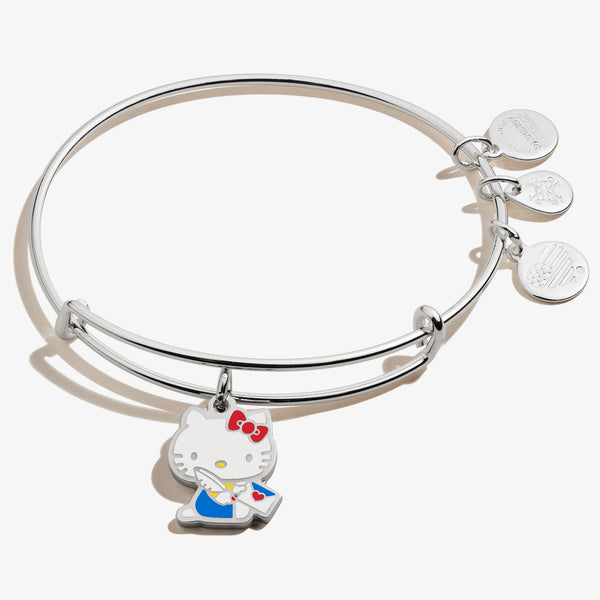 Hello Kitty Valentine Charm Bangle, Shiny Silver, Alex and Ani