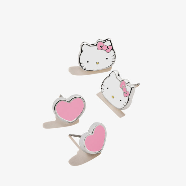 Hello Kitty + Heart Stud Earring Set, Pink