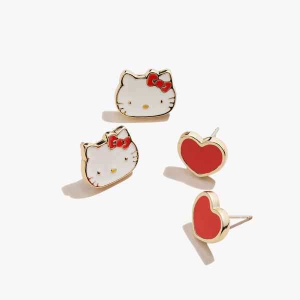 Hello Kitty + Heart Stud Earring Set, Red